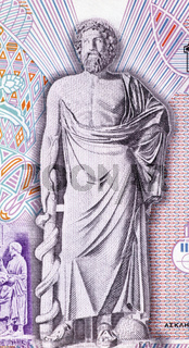 Asclepius on 10000 Drachmes 1995 Banknote from Greece. God of medicine and healing in ancient Greek religion.