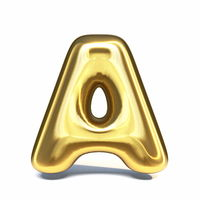 Golden font Letter A 3D