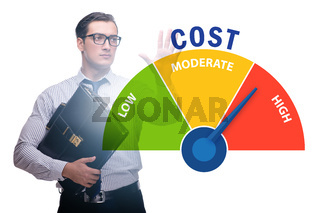 Businessman in cost management concept