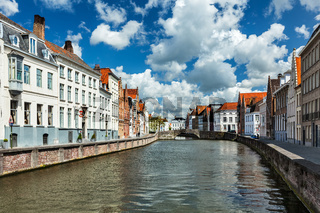 Canal and old houses in Bruges (Brugge)