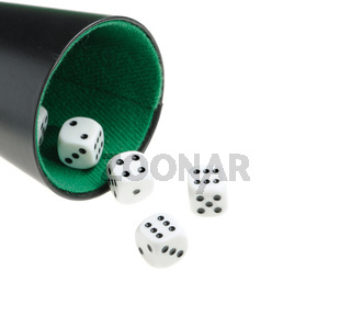 isolated dices in cup