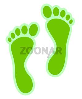 Fussabdrücke grün auf weiß