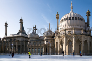 People ice skating at the Royal Pavilion in Brighton