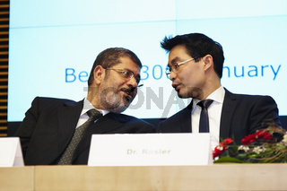 Federal Minister Roesler and Egyptian president Mursi at the conference of the German-Egyptian Joint Economic Commission