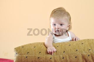 cute little baby indoor closeup portrait