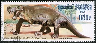 KAMPUCHEA - 1986: shows Sauroctonus, series devoted to prehistoric animals