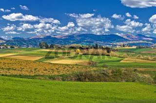 Beautiful green landscape under blue sky