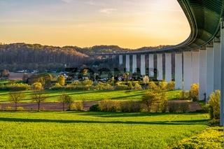 Evening view over the Ruhrtal and the motorway bridge towards towards Mintard in Muelheim an der Ruhr