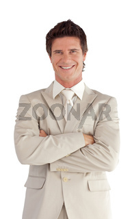 Portrait of a caucasian manager looking at the camera