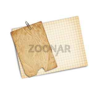 Old sheet of paper on a white background isolated