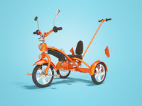 Orange kids bike with telescopic handle holder 3d render on blue background with shadow