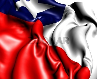 Flag of Chile against white background. Close up.