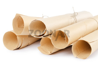 Many scrolls isolated on white isolated on white