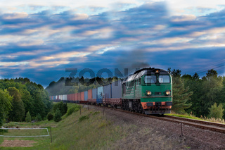 Freight train hauled by the diesel locomotive passing the forest