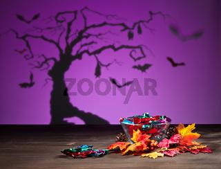 Halloween Landschaft mit Süßigkeiten