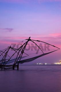 Kochi chinese fishnets on sunset. Fort Kochin