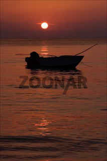 boat sunset red and relax