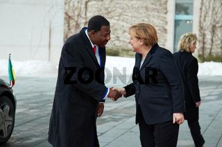 Chancellor Merkel welcomes Boni Yayi of Benin.