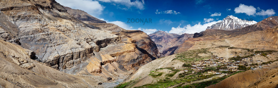 Panorama of Spiti valley and Kibber village