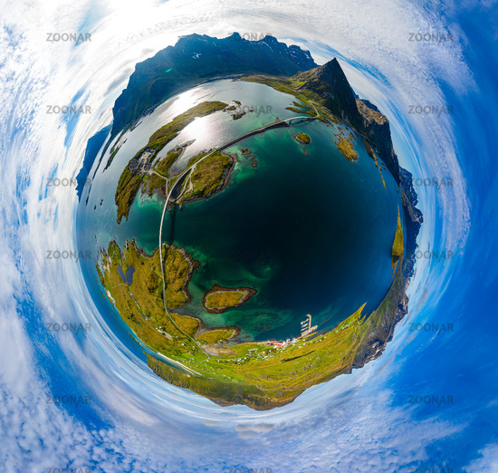 Mini planet Lofoten is an archipelago in the county of Nordland, Norway.