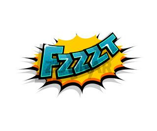 Comic text fzzzt, fzz logo sound effects