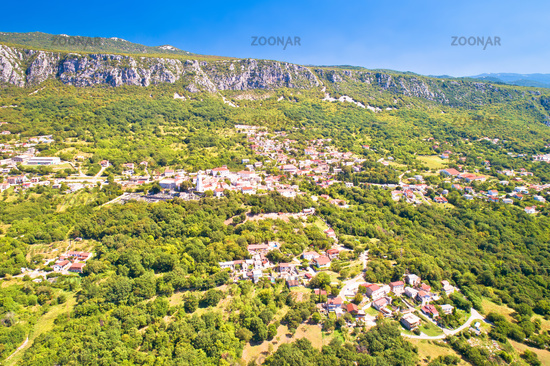 Historic town of Bribir in Vinodol valley aerial view