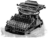 Typewriter Yost. Illustration of the 19th century. White background.