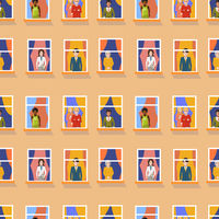 Different people in windows staying home, bright flat seamless pattern