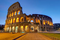 The famous Colosseum in Rome illuminated at twilight