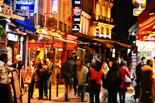 Latin Quarter of Paris. Famed for its nightlife Paris has about 40 000 restaurants