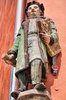 Halle Saale, Germany - 21.06.2019 - historical figure with writing should and have