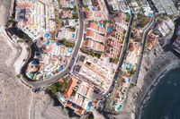 Overhead aerial directly above view of of Los Gigantes resort and cliffs (Cliffs of the Giants), Tenerife, Canary islands, Spain.