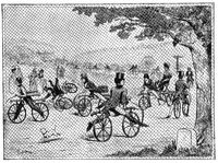 Bicycle School, 1811. Illustration of the 19th century. White background.