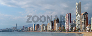 Coastline of Benidorm view. Spain