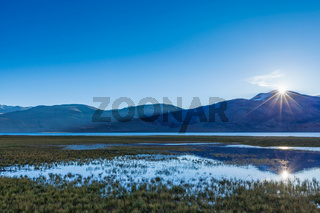Lake Tso Moriri in Himalayas on sunrise. Ladakh