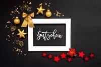 Frame, Red And Golden Christmas Decoration, Gutschein Means Voucher