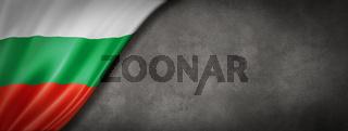 Bulgarian flag on concrete wall banner