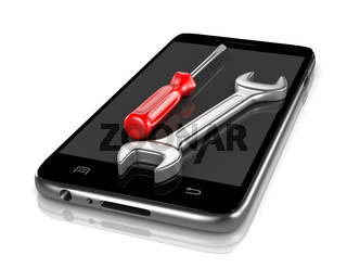 Smartphone with a Screwdriver and a Spanner on the Screen 3D Illustration on White Background
