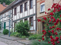 Half-timbered houses in the old town of Sternberg, Mecklenburg-Western Pomerania, Germany