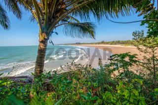 Amazing South Indian Scene: Main beach  and palm Trees on the Beach - Sun Rays.
