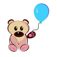 Illustration of a teddy bear with an air balloon