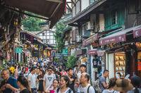 Crowds in Ci Qi Kou Ancient town in Chongqing