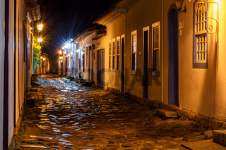 Night view of the city of Paraty with its old colonial style houses