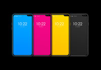 CMYK smartphone set isolated on black Background. 3D render