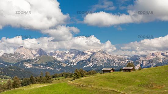 View over Seiser Alm, Alpe di Siusi, South Tyrol
