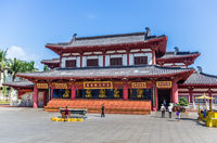 A colorful Temple 33 statues of Guanin of traditional Chinese architecture in the Sanya Nanshan Cultural Center