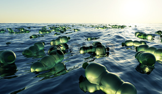 A large amount of green plastic bottles in the ocean