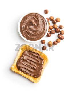Toast bread with hazelnut spread. Sweet chocolate cream.