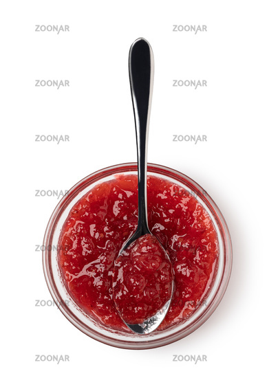 spoon on the saucer with jam