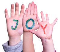 Children Hands Building Word Joy, Isolated Background
